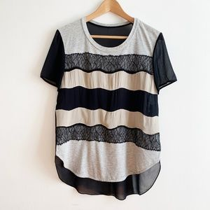 Phillip Lim * Sheer Silk Back Lace Striped Top 6